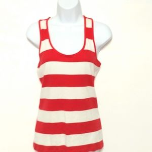 Maurices white red stripe tank top large